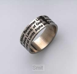 Ring edelstaal names of Jesus m 22