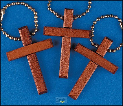 Keychain wooden cross set 12