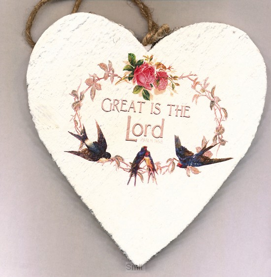 Great is the Lord (Wooden heart - 15 cm)