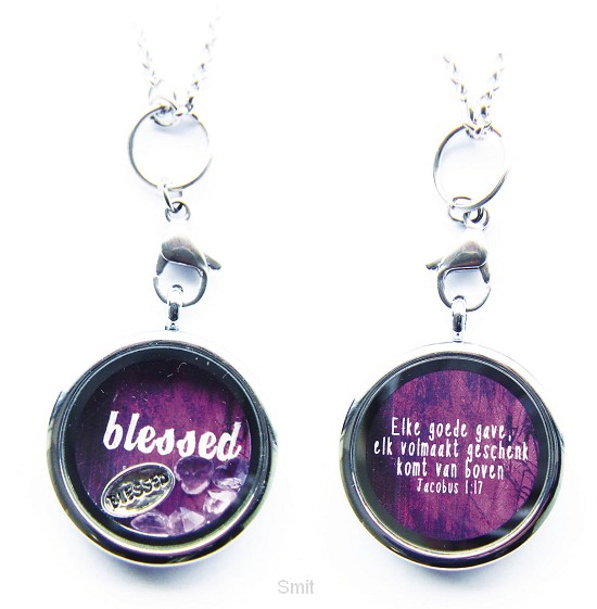Blessed charm with purple and pink heart