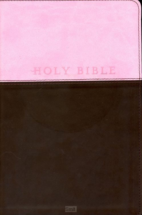 NLT Gift bible leather like pink brown